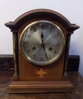 mahogany inlaid junghans striking mantel clock