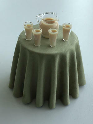 1:12 Scale Dollhouse Miniature Pitcher Of Chocolate Milk & 4 Glasses