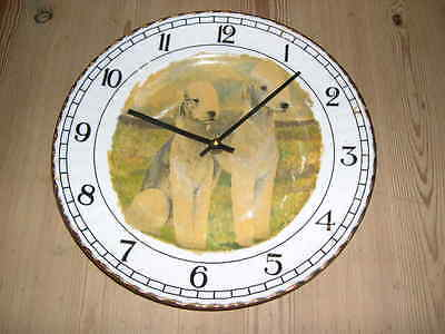 Antique Bedlington Terrier Dog Plate Clock Orig Oil Painting Signed V Rainsbury