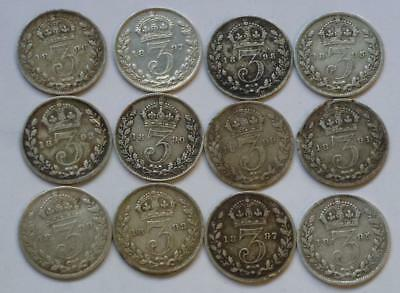 Collection of 12 Victorian threepences various dates see details