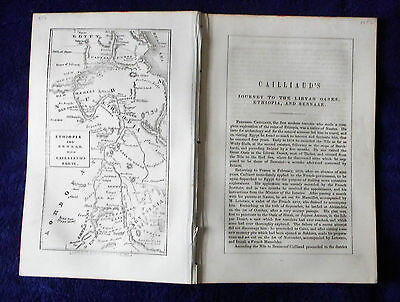 1856 Libya Ethiopia Sennar CAILLIAUD Journey Exploration antique MAP route +text