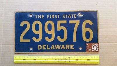 License Plate, Delaware, 1996, State Motto: The First State, 299576