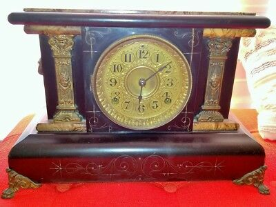 Antique Seth Thomas Mantle Clock ~ late 1800's ~ Adamantine Collection w/Lions