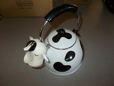 Kamenstein dairy spotted moo cow farm themed teapot kitchenware tea kettle used