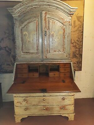 18th Century Continental painted pine Bureau bookcase c 1800
