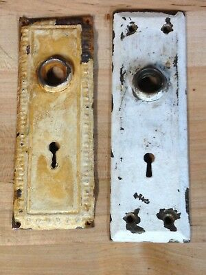 2 Antique Vintage Arts Crafts Door Knob Lock Key Hole Plate Parts