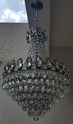 Antique French Basket Style Brass & Crystals silver tone HUGE Chandelier  1950's