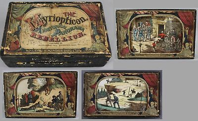 19thC Antique Milton Bradley CIVIL WAR Myriopticon Historical Panorama Rebellion