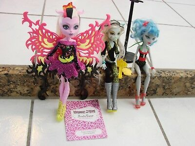 Monster High Doll lot of 3 Bonita Femur Butterfly, Frankie Freaky Friday, Abbey