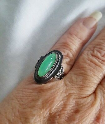 ATQ Russian Sterling 875 Silver Ring Sz 5 3/4 Oval Chrysoprase Gemstone Cabochon