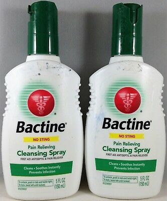 Exp 12/18 2pk Bactine Pain Relieving Cleansing Spray First Aid Antiseptic-5oz ea