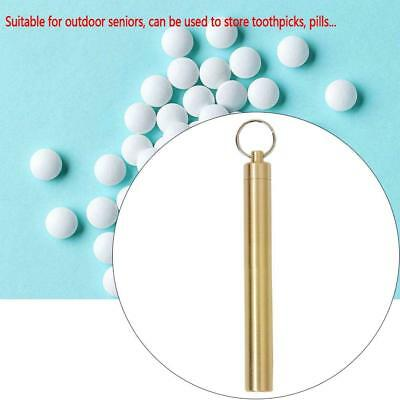 Waterproof Pill Box Case Bottle Holder Brass Container Medicine Capsule Keychain