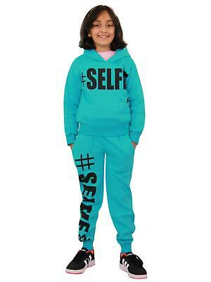 Kids Girls Tracksuit Designer #Selfie Hooded Crop Top Bottom Jog Suit 5-13 Years