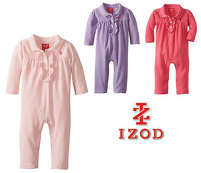 IZOD Baby Infant Girls Ruffle Coverall 0-3 / 3-6 months Pink Purple 100% Cotton