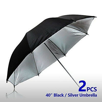 "2 pcs 40"" Double Layer Black Silver Photo Studio Umbrella Photo Video Reflector"