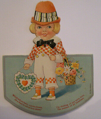 Vintage mechanical Valentine card boy with flowers basket moving head Germany