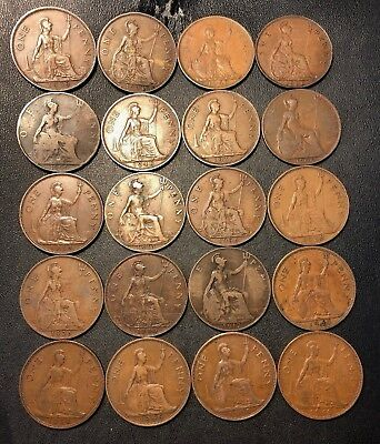 Vintage Great Britain Coin Lot - 20 OLDER LARGE Pennies - 1900-1949 - Lot #87