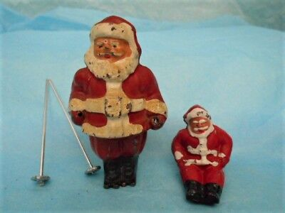 2 Vintage Metal Santa Figures ~ Barclay