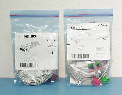 Qty-2 (New) Philips / Agilent M1623A 5-Lead ECG Safety Cable w/ Grabbers