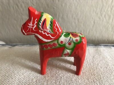 "3"" Swedish Orange Wood Dala Horse"