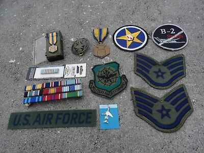 USAF group Medals ribbons patches B-2 Stripes Milt Air lift & Sterling jet charm