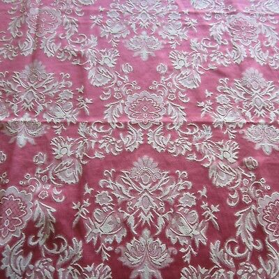 50cm x 145cm Lovely Pink Red Damask Upholstery Fabric 1950s 60s Vintage Cotton