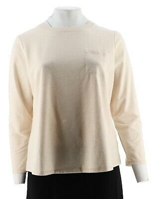 6e1d321705a Denim Co French Terry Long Slv Scoop Neck Top Oatmeal Heather XL NEW A294042