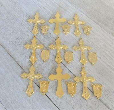 Lot 18 LARGE Crucifixes Centers Rosary Italy Italian Parts S129 finsh GOLD *SALE