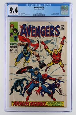 Avengers #58 -NEAR MINT- CGC 9.4 NM -Marvel 1968- 2nd App & ORIGIN of Vision!!!