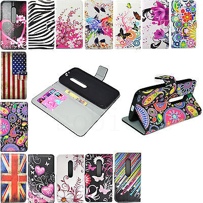 Leather Flip Card Wallet Phone Protector Cover Case For Motorola Moto G3 3rd Gen