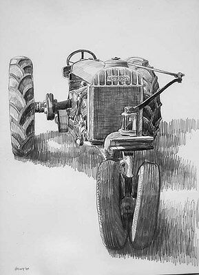 FORDSON TRACTOR, fine art drawing one-of-a-kind, signed/dated original Helvey