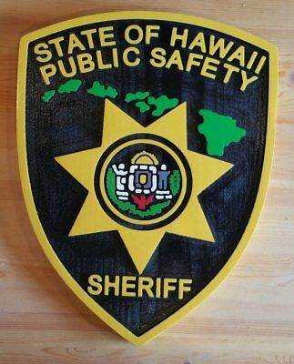 Police Hawaii Sheriff  3D routed carved wood award patch plaque sign Custom