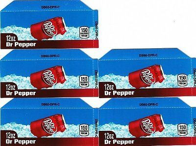 Dr Pepper Labels - 5 Small 12oz Can Soda Vending Machine Calories Flavor Labels