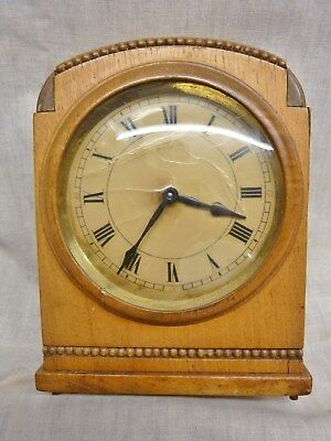fantastic art deco H A C mantel clock oiled and working wood case 30 hour wooden