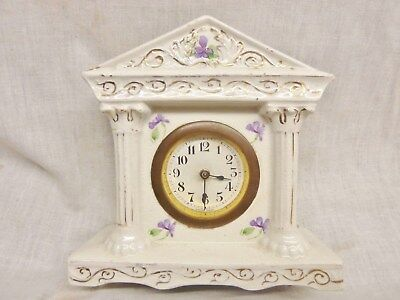 pretty victorian china mantel clock violets pattern oiled working ceramic 30hr