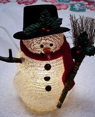 Clear Acrylic Snowman, Lighted w/ Cord, Top Hat, Broom, Wood Arms, Red Scarf