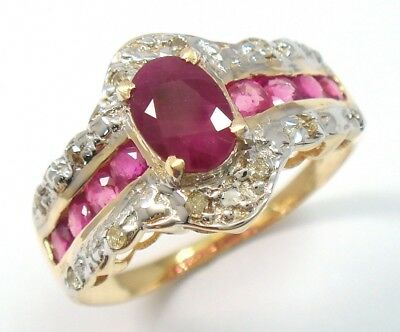 Sytruemeco 9Kt Yellow Gold Natural Ruby & Diamond Ring Size 7    R827