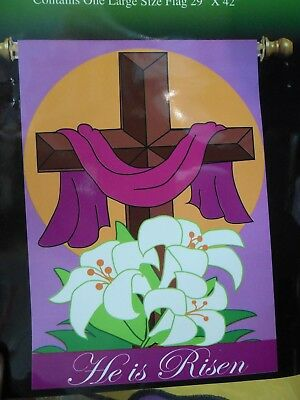 Easter Crosses House Flag Religious Banner Holiday Pennant 24x36 He is Risen