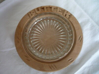 Vintage Carved Butter Dish with Glass Liner English Kitchenalia Cottage Display