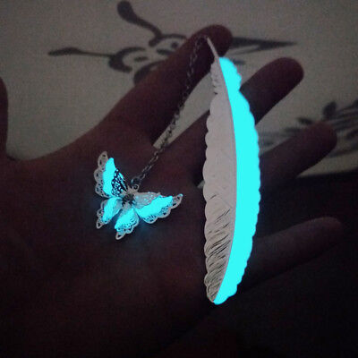 Retro Style Luminous Feather Butterfly Bookmarks Glow in the Dark Night Light
