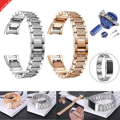 Stainless Steel Bling Crystal Metal Watch Band Wriststrap For Fitbit Charge 2