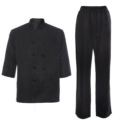 75f05c1f4b2 UNISEX CHEF JACKET Chefs Coat Food Catering Trousers Pants Workwear ...