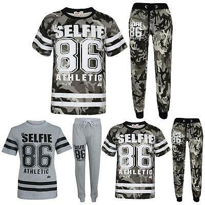 Boys Top Kids Designer's #Selfie 86 Camouflage T Shirt & Trouser Set 7-13 Years