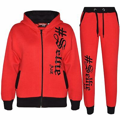 Kids Jogging Suit Boys Girls Designer's #Selfie Top Bottom Tracksuit Age 7-13 Yr