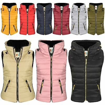 Kids Girls Boys Sleeveless Hooded Lined Gilet Body Warmer Puffer Jackets 5-13 Yr