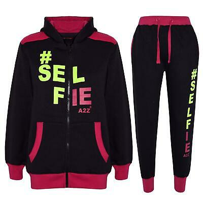 Kids Tracksuit Boys Girls Designer's #Selfie Jogging Suit Top Hoodie Bottom 7-13