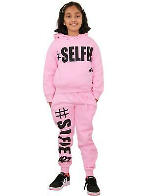 Kids Girls Tracksuit Designer #Selfie Hooded Crop Top Bottom Jogging Suit 5-13Yr