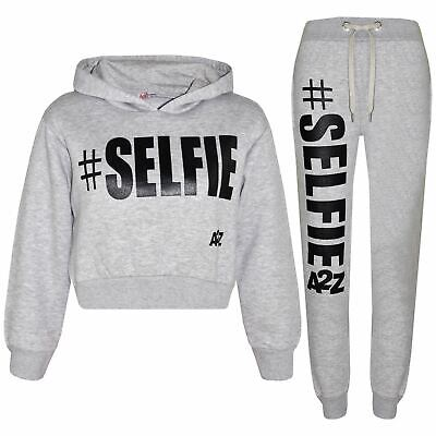 Kids Girls Jogging Suit Designer #Selfie Tracksuit Hooded Crop Top & Bottom 5-13