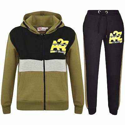 Kids Jogging Suit Boys Girls Designer's Tracksuits Zipped Tops Bottom 7-13 Years