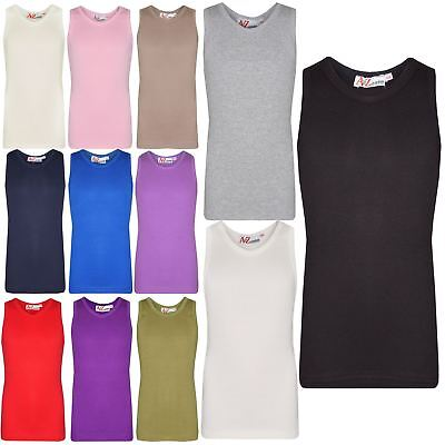 Kids Girls Ribbed Vest Top 100% Thick Cotton Fashion Tank Tops T Shirt 2-13 Year